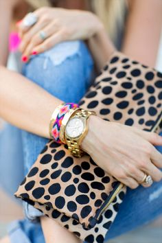 layered bracelets and leopard clutch - yes! www.bstyledblog.com
