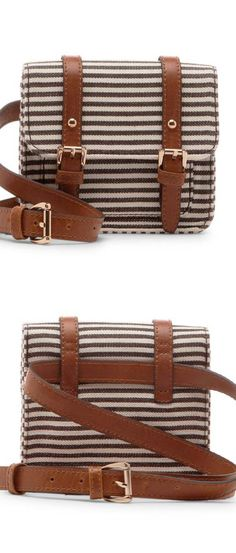Brown & cream stripe canvas mini belt bag with front flap closure and adjustable belt buckle
