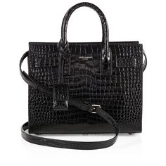 Saint Laurent Nano Sac De Jour Croc-Embossed Leather Tote (40,555 MXN) ❤ liked on Polyvore featuring bags, handbags, tote bags, purses, ysl, tote purses, man bag, tote bag purse, yves saint laurent tote bag and yves saint laurent purse