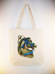 Vintage Circus Horse Head 15x15 Canvas Tote -- Larger Zip Top tote and personalization available