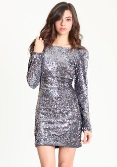 Gabby Sequin Dress in Charcoal by Motel $103.00. Kind of reminds me of the dress that the girl wears in Trainspotting.