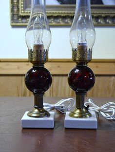 Vintage Pair Table Bedside Lamps Ruby Red Glass by PanchosPorch, $59.75