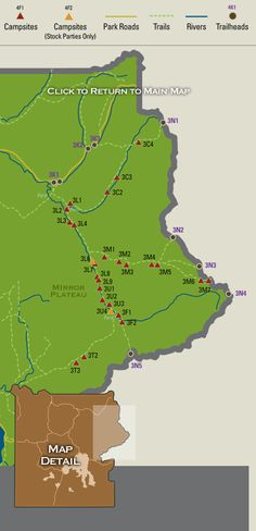 Map showing backcountry campsites in the Lamar River region of Yellowstone National Park.