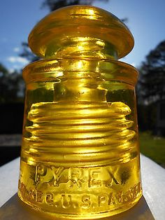 Antique Glowing Yellow Glass Insulator --- Pyrex CD # 128 !!!