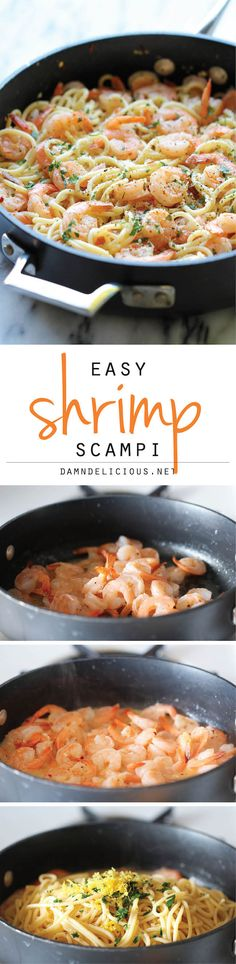 Scampi Shrimp Scampi - You won't believe how easy this comes together in just 15 minutes - perfect for those busy weeknights!Shrimp Scampi - You won't believe how easy this comes together in just 15 minutes - perfect for those busy weeknights! Healthy Food Recipes, Fish Recipes, Seafood Recipes, Cooking Recipes, Recipies, Seafood Meals, Shrimp Meals, Cooking Food, Bread Recipes