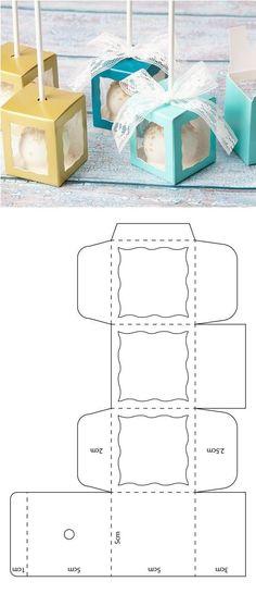 cake pop box template box pop up Caja para cake pop Diy Gift Box Template, Paper Box Template, Cube Template, Cake Pop Boxes, Cake Pops, Box Cake, Diy Crafts For Gifts, Paper Crafts, Packaging Box