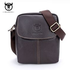 20424f2e791 BULLCAPTAIN Brand Men Bag Genuine Leather Fashion Men Small Shoulder Bags  Casual Vintage Men s Crossbody Bag