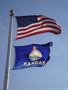 American and Kansas State Flags (Ashland KS) Kansas State Flag, Kansas Day, Kansas Missouri, States And Capitals, Countries And Flags, City State, Travel Goals, Good Old, Travel Usa