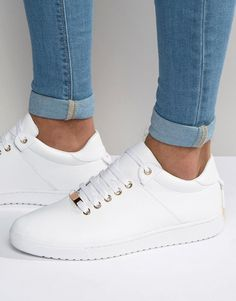 Trainers in White With Back Lace and Gold Details 1a4116fc7