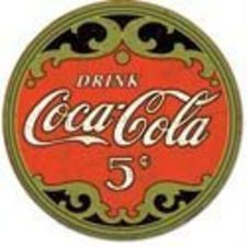 Coca-Cola Round 5 Cents Tin Sign 12 x This Coca-Cola metal sign sports a lithographed finish and a truly vintage look. Made in the USA. This reproduction tin sign is perfect for a kitchen or diner.