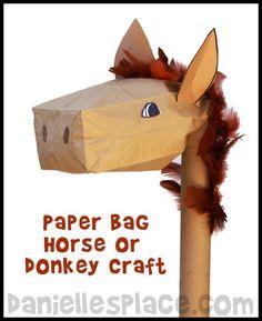 Palm Sunday Stick Donkey Paper Bag Craft from www.daniellesplace.com