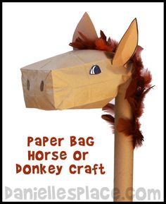 Palm Sunday Stick Donkey Paper Bag Craft from www.daniellesplace.com