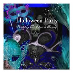 Shop Halloween Party Blue Teal Masks Masquerade Party Invitation created by Zizzago.