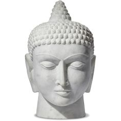 Carved White Marble Global Bazaar Buddha Head Sculpture ($3,248) ❤ liked on Polyvore featuring home, home decor, fillers, items, sculptures, white, outdoor sculpture, outside home decor, buddha head statue and head statue