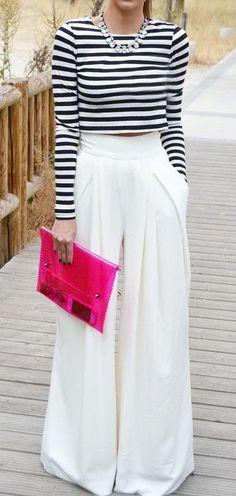 White Plain Pleated Palazzo Elastic Waist High Waisted Wide Leg Loose-fitting Fashion Long Pants