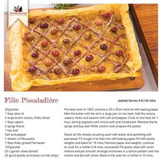Recipe for Fillo Pissaladiére Recipe Cards, Starters, Gourmet Recipes, Waffles, Oven, France, Snacks, Meals, Baking