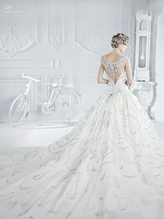 wedding dresses cathedral train | ... Train Royal Princess Luxurious Sexy Bling Bling Bridal Dress White A