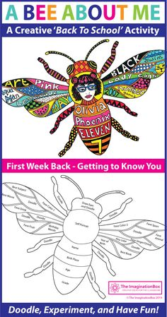 This 'All About Me Bee' doodle art activity is an easy back to school activity for the classroom. A great lesson plan for grade teachers to use as a fun first week back getting to know you resource, encouraging team building and learning First Day Activities, Art Activities For Kids, Back To School Activities, Back To School Art, Beginning Of School, Art School, School Office, Art Education Lessons, School Lessons