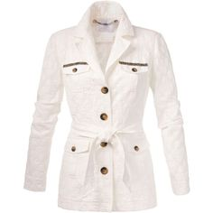Blazer (10.735 RUB) ❤ liked on Polyvore featuring outerwear, jackets, blazers, button jacket, collar jacket, white blazers, white jacket and white blazer jacket