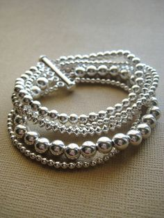 Silver Bracelet, Beaded Bracelet, Sterling Silver, Fine Jewelry - Ideias para a casa - Bracelets Beaded Jewelry, Jewelry Box, Jewelry Bracelets, Jewelry Accessories, Fine Jewelry, Jewelry Design, Jewelry Making, Jewelry Ideas, Jewlery