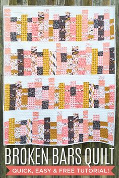 Love this variation on the Broken Bars Quilt! It looks like a bookshelf! Free Tutorial!