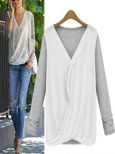 Chiffon Patchwork Casual Cotton Long Sleeve T-Shirts