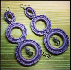 orecchini a tre anelli all'uncinetto lilla… I love crochet! Per info scrivere a: elebeta@gmail.com