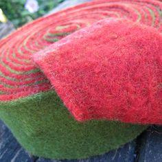 100% Wool Felt Rolls - 2-tone Felt - Red & Green - 1 metre - £4.00.  Buy from www.bloomingfelt.co.uk