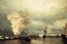 Sea battle near Vyborg, 1846, Ivan Aivazovski Medium: oil, canvas