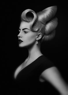 Eric Fisher haute couture hair design editorial photography black and white studio low key Crazy Hair, Big Hair, Vintage Hairstyles, Up Hairstyles, Avant Garde Hairstyles, Team Training, Hair Rainbow, High Fashion Hair, Competition Hair