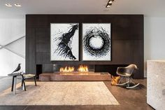 CZ Art Design - Set of 2 Minimal Art abstract painting on canvas, drip painting, The Universe.