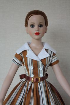 "Gold stripe Dress for 18"" Kitty Collier by BabetteDollFashions"