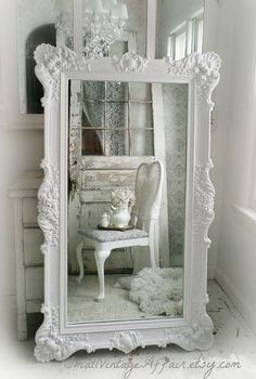 H O L L Y W O O D Vintage Leaning Mirror Floor Mirror Regency Shabby Chic Baroque. You can create this look with Vintro Chalk Paint in pearl.