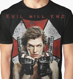 Resident Evil The Final Chapter evil will end Graphic T-Shirt