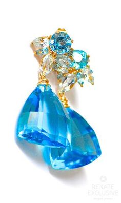 "Swiss Blue Topaz Earrings ""Ocean"": NYC designer jewelry"