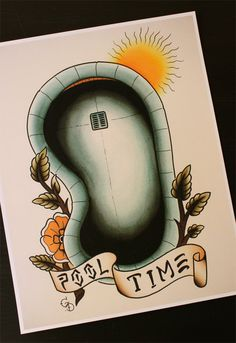 Traditional tattoo flash Dogtown Skateboard Pool Time 11'x14' by Yukittenme