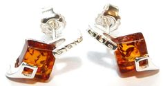 Love Amber X Silver 925 Claw Cognac Baltic Amber Stud Earrings