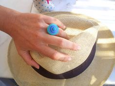 blue-turquoise-grey round paper ring adjustable