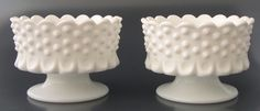 Fenton Footed Milk Glass Hobnail Candle Holders Pair