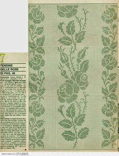 firanka szydełkowa z różami + wzór