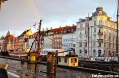 Restaurant Heering in København K, Region Hovedstaden Rainbow over Nyhavn canal as the rain stopped Denmark Street, Street Food, Copenhagen, Tasty, Rainbow, Restaurant, Rain Bow, Rainbows, Diner Restaurant