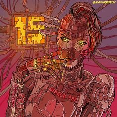 Arte Cyberpunk, Cyberpunk Anime, Cyberpunk Girl, Character Art, Character Design, Character Portraits, Superhero Design, Retro Futuristic, Character Illustration