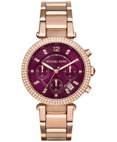 Michael Kors Women's Chronograph Parker Rose Gold-Tone Stainless Steel Bracelet Watch 39mm MK6264, Only at Macy's