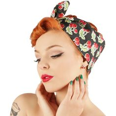 Rock Rockabilly 50s Fifties Pin Up black cherry bandana headscarf... ($10) ❤ liked on Polyvore featuring accessories, hair accessories, pin up hair accessories, bandana headband, head wrap headbands, hair scarf and rockabilly hair accessories