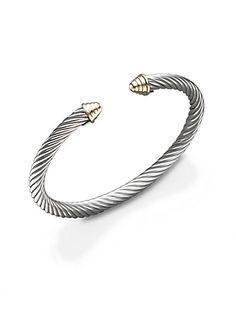 David Yurman - Sterling Silver & 14K Yellow Gold Cable Bracelet - Saks.com
