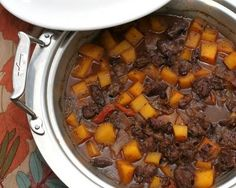 Winter Stew, a master recipe for a wintry meat and vegetable stew, a concept recipe that's been much-tested with many combinations of meats and vegetables, liquids and more. Recipe, tips, nutrition info and Weight Watchers points #KitchenParade. Shown here, elk meat, butternut squash, sherry and dried apricots.