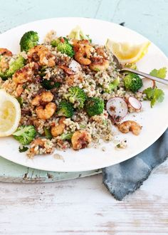 Brown Rice and Garlicky Chilli Prawn Salad, with Capers, Broccoli and Radish, Crushed Peanuts
