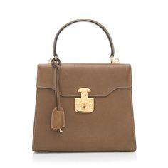 f61f903bf23 Gucci Vintage Box Leather Pushlock Kelly Satchel