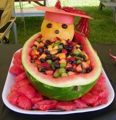 18-20 years later - Graduation party fruit bowl platter watermelon basket [w/directions for constructing a Watermelon Basket]