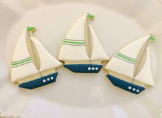Decorated cookies sailboats by Pinkfrostingcookies on Etsy, $36.00